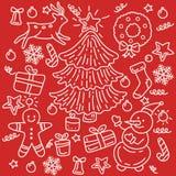 Il Natale progetta l'elemento negli oggetti e nei simboli di stile di scarabocchio sul tema del nuovo anno illustrazione vettoriale