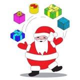 Il Natale, Santa Claus manipola con i regali Per le cartoline, alette di filatoio, decorazioni Fotografia Stock Libera da Diritti