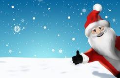 Il Natale Santa Claus Thumbs Up 3D rende il fumetto Fotografia Stock Libera da Diritti