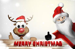 Il Natale Santa Claus Thumbs Up 3D rende il fumetto Fotografie Stock