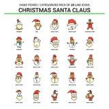 Il Natale Santa Clause Flat Line Icon ha fissato - il concetto Ico di affari illustrazione vettoriale