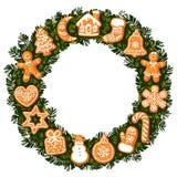 Il Natale si avvolge con i biscotti del pan di zenzero Struttura rotonda con spazio vuoto per testo Illustrazione disegnata a man royalty illustrazione gratis