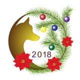 Il Natale si avvolge con il simbolo del cane di anno Fotografia Stock Libera da Diritti