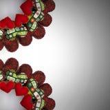 Il Natale si avvolge fatto con i cuori rossi della rappezzatura due quarti Fotografie Stock
