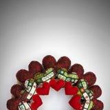 Il Natale si avvolge reso con i cuori rossi della rappezzatura mezzo Fotografia Stock Libera da Diritti