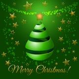 Il Natale si inverdisce l'albero di nastro, illustrazione di saluto di vettore Immagini Stock