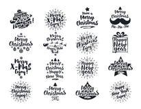 Il Natale simbolizza lo stile piano di colore nero stabilito isolato su fondo bianco Fotografia Stock