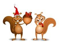 Il natale Squirrels la ghianda Fotografie Stock