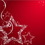 Il Natale stars con l'arco su un fondo rosso Fotografia Stock Libera da Diritti