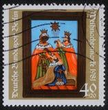 Il Natale timbra stampato nella nascita di Jesus Christ, adorazione di manifestazioni della Germania del Re Magi Immagini Stock