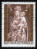 Il Natale timbra stampato nelle manifestazioni Madonna dell'Austria ed in bambino Fotografie Stock Libere da Diritti