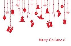 Il Natale vector la cartolina d'auguri rossa Fotografia Stock