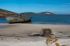 Il naufragio sulla spiaggia, Malvinas è; sbarchi fotografia stock