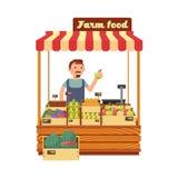 Il negozio del mercato della verdura e della frutta sta con l'illustrazione piana di vettore del giovane carattere felice dell'ag illustrazione vettoriale