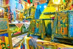 Il negozio di ricordo in grande bazar a Ispahan, Iran fotografia stock