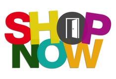 Il negozio ora si abbottona con il concetto aperto della porta Fotografia Stock