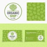 Il negozio organico messo con il logo che consiste dell'albero, foglie modella Immagine Stock