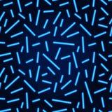 Il neon allinea il modello senza cuciture Linee d'ardore del neon blu di vettore Immagine Stock Libera da Diritti