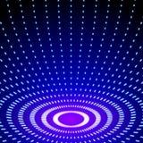 Il neon brillante luminoso allinea il fondo con i brevi cerchi dei colpi Immagine Stock