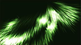 Il neon brillante luminoso brillante luminoso magico cosmico verde astratto di struttura allinea le strisce delle onde di spirali illustrazione di stock