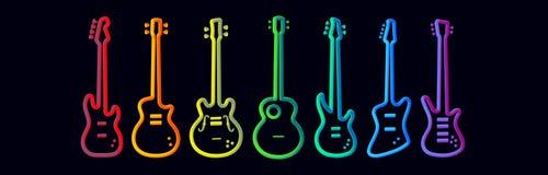 Il neon degli strumenti musicali di colore dell'arcobaleno tubed l'insieme astratto della chitarra elettrica della prestazione de illustrazione vettoriale