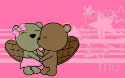 Il neonato e la ragazza svegli di amore beaver il fondo del fumetto Immagini Stock Libere da Diritti