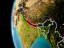 Il Nepal da spazio nella sera Fotografia Stock