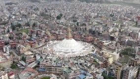 Il Nepal, Kathmandu Boudhanath Stupa Metraggio aereo video d archivio
