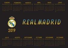 Il nero backgrounded il calendario 2019 di Real Madrid immagine stock libera da diritti