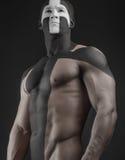 Il nero bianco dell'incrocio di body art degli uomini forti Fotografia Stock