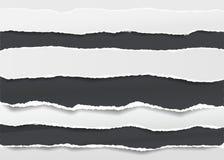 Il nero, bianco ha strappato le strisce orizzontali in bianco della carta per appunti per testo o il messaggio attaccato su fondo illustrazione vettoriale