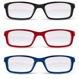 Il nero, colore rosso ed azzurro del â degli occhiali Fotografia Stock Libera da Diritti