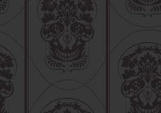 Il nero copre di foglie modello del damasco del cranio Immagini Stock Libere da Diritti