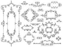 Il nero degli elementi di progettazione dell'ornamento su bianco illustrazione vettoriale