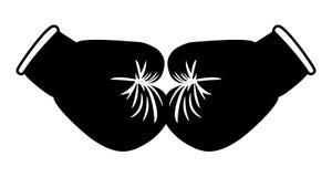 Il nero dei guantoni da pugile sull'immagine di riserva bianco- Fotografia Stock