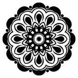 Il nero del modello della mandala un fondo Illustrazione di vettore Elemento di meditazione per yoga dell'India Ornamento per dec royalty illustrazione gratis