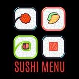 Il nero del modello di vettore di logo dell'alimento del menu dei sushi Immagini Stock