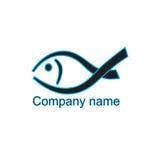 Il nero del pesce di logo con il blu Per la società, il club, immagazzina Immagini Stock Libere da Diritti