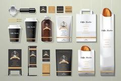 Il nero del tostacaffè ed insieme di progettazione del modello di identità corporativa dell'oro Immagini Stock Libere da Diritti