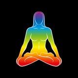 Il nero dell'arcobaleno di anima del corpo della donna illustrazione di stock