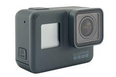 Il nero dell'EROE 6 di GoPro isolato Fotografie Stock