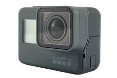 Il nero dell'EROE 6 di GoPro isolato Fotografia Stock