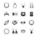 Il nero dell'icona dei gioielli Immagine Stock