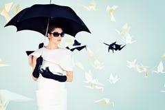 Il nero dell'ombrello Immagine Stock