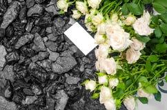 Il nero della carta delle rose bianche del carbone Fotografia Stock