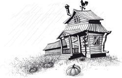 Il nero della casa di Halloween Fotografie Stock Libere da Diritti