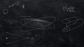 Il nero della lavagna di equazioni di astronomia video d archivio