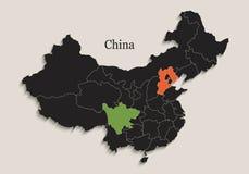Il nero della mappa della Cina colora gli stati separati della lavagna singoli Immagini Stock Libere da Diritti