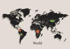 Il nero della mappa di mondo colora gli stati separati della lavagna singoli Fotografia Stock