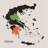 Il nero della mappa della Grecia colora gli stati separati della lavagna singoli Immagini Stock
